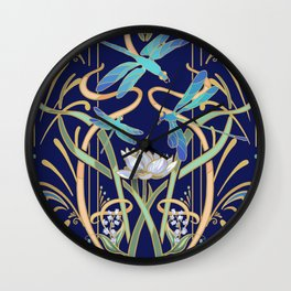 Art Nouveau Dragonflies | Navy Wall Clock