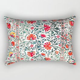 Floral Pattern Tapestry II // 18th Century Colorful Green Yellow Orange Red Mint Blue Flower Design Rectangular Pillow