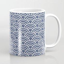 Dark Blue Japanese Seigaiha Wave - Watercolor Ocean Art, Classic Blue Pattern Coffee Mug