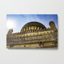 Looking up at One of the Mosques with the Sun Shining on It and Giving It a Golden Color at the Qutb Shahi Tombs in Hyderabad, India Metal Print