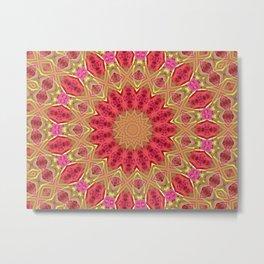 Pink and Green Mandala Kaleidoscope A419 Metal Print