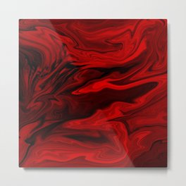 Blood Red Marble Metal Print