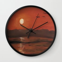 Sunset, romantic landscape, oil painting by Luna Smith, Luart Gallery Wall Clock