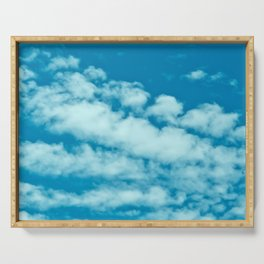 Beautiful blue sky and fluffy clouds Serving Tray
