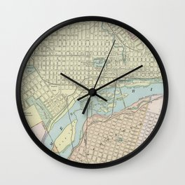Vintage Map of Richmond VA (1901) Wall Clock