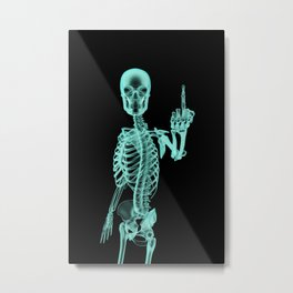X-ray Bird / X-rayed skeleton demonstrating international hand gesture Metal Print