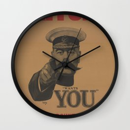 Vintage British First World War Poster - Kitchener Wants You to Join your Country's Army (1914) Wall Clock