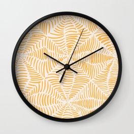 Orange doodle pattern Wall Clock