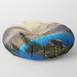 Mountain Scene by Albert Bierstadt Floor Pillow