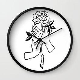 Hands Holding Rose Design — Hands & Rose Stem Illustration Wall Clock
