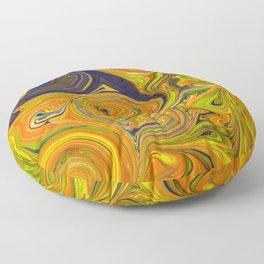 Yellow and Blue Swirls Floor Pillow