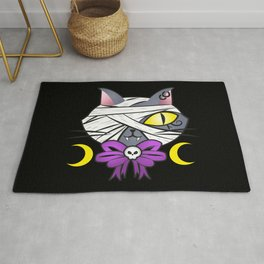 Mummy egyptian cat halloween goth with skull bow Rug