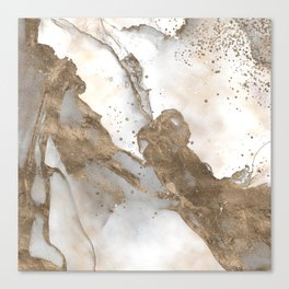Liquid marble - pearl and gold Canvas Print
