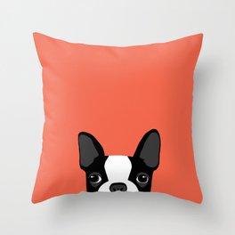 Boston Terrier Peek - Black on Sunset Red Throw Pillow