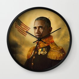 Barack Obama Poster, Classical Painting, Regal art, General, President, Democrat, Political Wall Clock