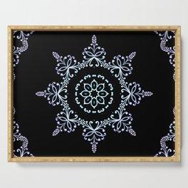 winter star hand drawn kaleidoscope Mandala Serving Tray