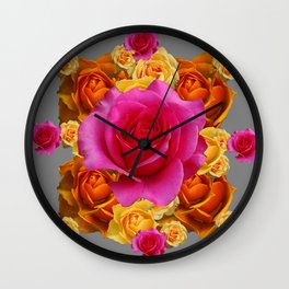 OLD GOLD-YELLOW & PINK ROSES ON GREY Wall Clock