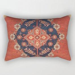 Southwest Tuscan Shapes I // 18th Century Aged Dark Blue Redish Yellow Colorful Ornate Rug Pattern Rectangular Pillow