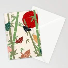 Calming Bamboo and Cranes  Stationery Cards