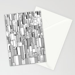 Tall city B&W / Lineart city pattern Stationery Cards