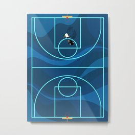 Blue Camouflage Street Basketball Court Metal Print