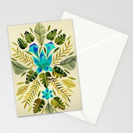 Tropical Symmetry – Turquoise & Olive Palette Stationery Cards