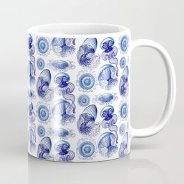 Ernst Haeckel Jellyfish Leptomedusae Vivid Blues Coffee Mug