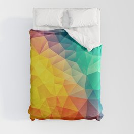 Abstract Polygon Multi Color Cubism Low Poly Triangle Design Duvet Cover
