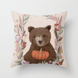 Fall Bear and Pumpkin Throw Pillow