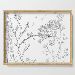Color Your Own Chinoiserie Panels 1-2 Contour Lines - Casart Scenoiserie Collection Serving Tray