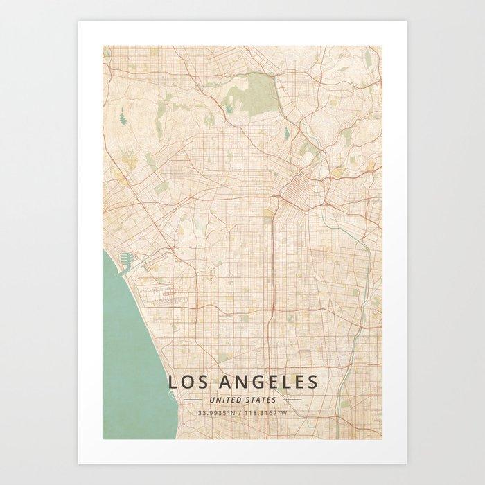Los Angeles, United States - Vintage Map Kunstdrucke