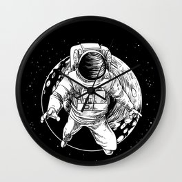 Floating Astronaut With Moon design Universe Cience Lovers Wall Clock