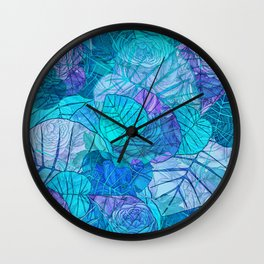Leaves in Rosy Background 3 Wall Clock