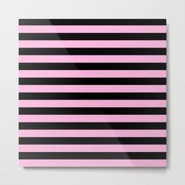 Stripes (Black & Pink Pattern) Metal Print