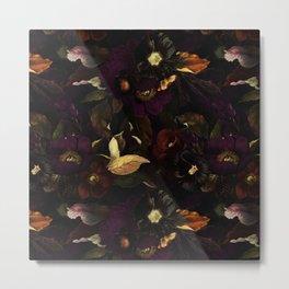 The Darkest Dutch Vintage Flowers Garden  Metal Print