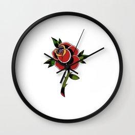 Old School Rose Tattoo  Wall Clock