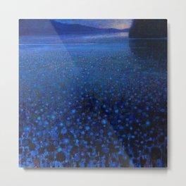 'Duckweed in Lake in Blue Twilight' landscape painting by K. Yamashita Metal Print