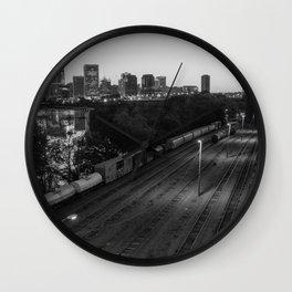 Train Yard Near The City in Black & White Wall Clock