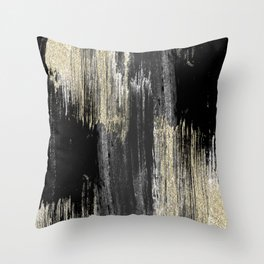 Abstract modern black gray gold glitter brushstrokes Throw Pillow
