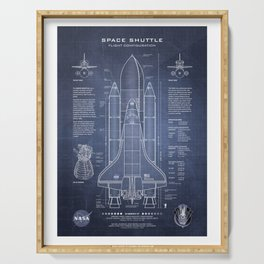 NASA Space Shuttle Blueprint in High Resolution (dark blue)  Serving Tray