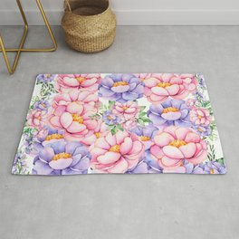 Blush pink lilac watercolor modern roses floral Rug
