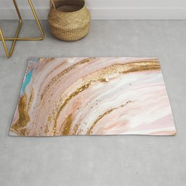 Blush Pink And Gold Liquid Color  Rug