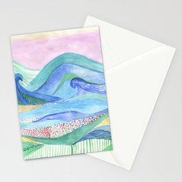 Watercolor abstarct sea and mountans background Stationery Cards