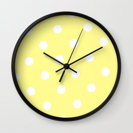 Yellow and White Polka Dot Wall Clock