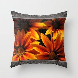 Gazania named Kiss Orange Flame Throw Pillow