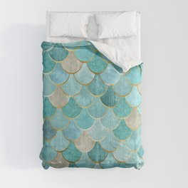 Moroccan Mermaid Fish Scale Pattern, Aqua,Teal Comforters