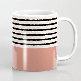 Texture - Black Stripes Dustpink Coffee Mug