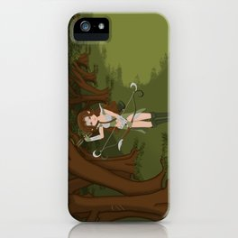Girl Warrior Elf Archer on Edge of Forest iPhone Case