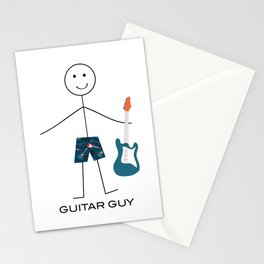 Funny Mens Guitar Guy - Bass Guitar Stationery Cards