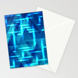 Blue crossings on metal sea background. Stationery Cards